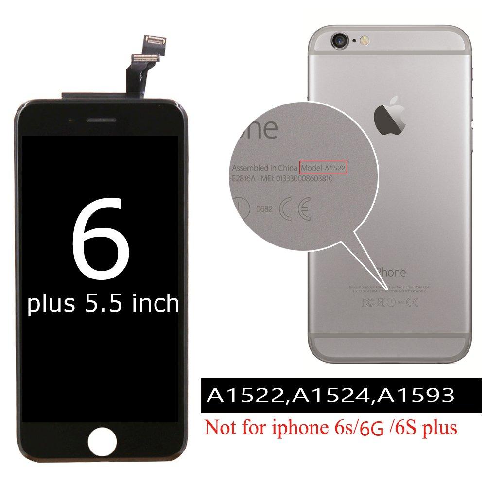Ibaye Pantalla Phone 6 Plus LCD de Repuesto para Negro - 2018 Nuevo diseño para Pantalla táctil de 5,5 Pulgadas Conjunto de Marco digitalizador ...