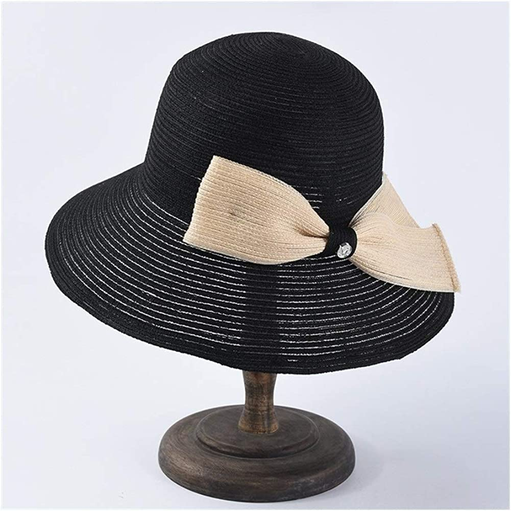 Qinmei Zhou Summer Straw Hat Female Simple Wild Bow Sunscreen Visor Outfit Leisure Folding Basin Cap Fisherman Hat Color Black At Amazon Women S Clothing Store