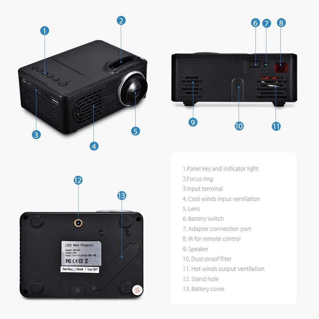 Full HD 1080P LCD LED Home Theater Cinema Mini Portable Projector Support USB TV VGA SD AV Multi Language UC18 Mini Portable Video Projector Great for Movie Nights and Video Games