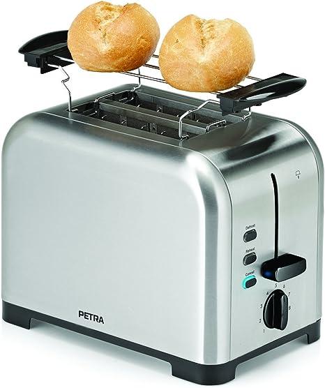 PETRA TA 521.35 Toaster für 4 Scheiben Silber//Schwarz 1500 Watt 320113
