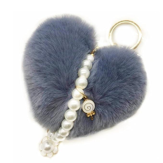 Amazon.com: Llaveros con forma de corazón con perla colgante ...