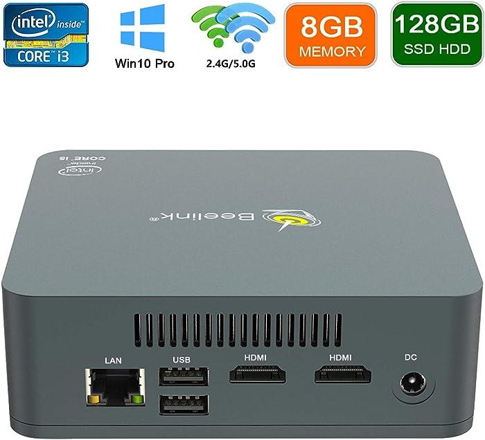 Mini PC Windows 10 Pro Intel Core i3-5005U Processor 8GB RAM 128GB SSD Mini Desktop Computer, 4k HD, Dual Band WiFi, Dual HDMI, Type-C Port, USB3.0, Gigabit Ethernet, Beelink U55