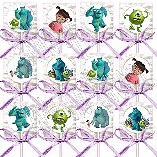 (Monsters Inc Party Favors Supplies Decorations Disney Movie Lollipops w/ Lavender Bow Ribbons Party Favors -12 pcs, Sully, Mike,)