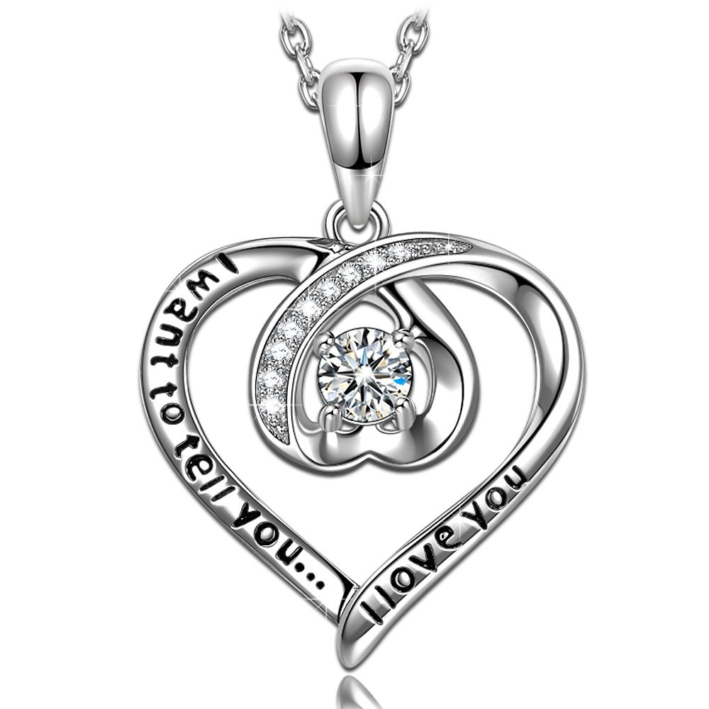 ANGEL NINA Hypoallergenic S925 Sterling Silver Zircon White Gold Plated Heart Shape Necklace Anniversary Valentines Birthday Gifts Box for Girlfriend Wife Fine Jewelry Necklaces Jewelry Hand Crafted
