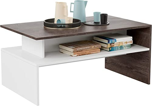 HOMFA Modern Console Table Coffee Table 2-tier Rectangular Storage Open Shelf Table for Living Room Sitting Room Home Furniture, Oak White