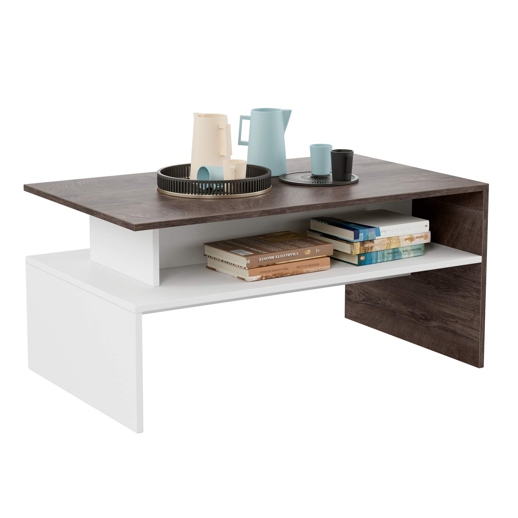 HOMFA Modern Console Table Coffee Table 2-tier Rectangular Storage Open Shelf Table for Living Room Sitting Room Home Furniture, Oak/White by Homfa