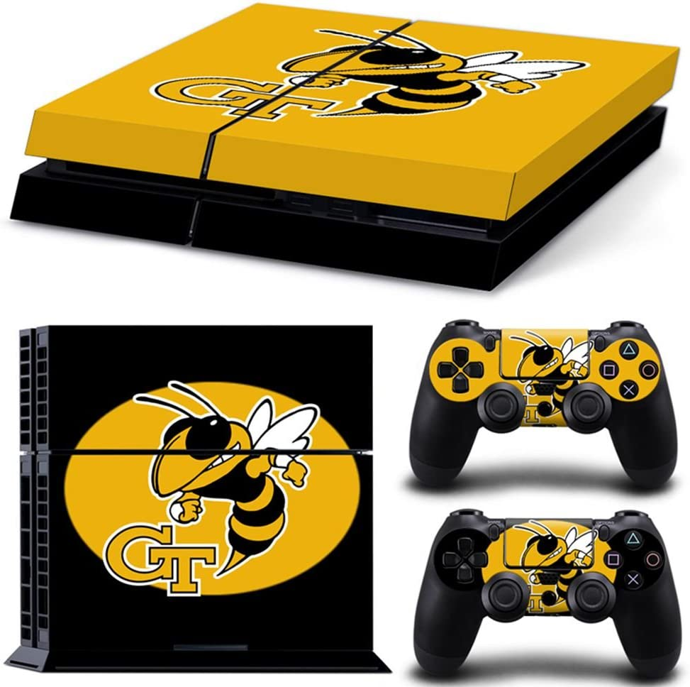 Sony PlayStation 4 Skin Decal Sticker Set - NCAA Georgia Tech Yellow Jackets (2 Controller Stickers + 1 Console Stickers)