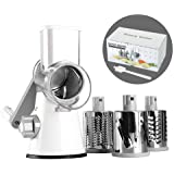 Cambom Manual Rotary Cheese Graters Round Mandoline Slicer Cheese Shredder Vegetable Slicer Walnuts Grinder with Strong…