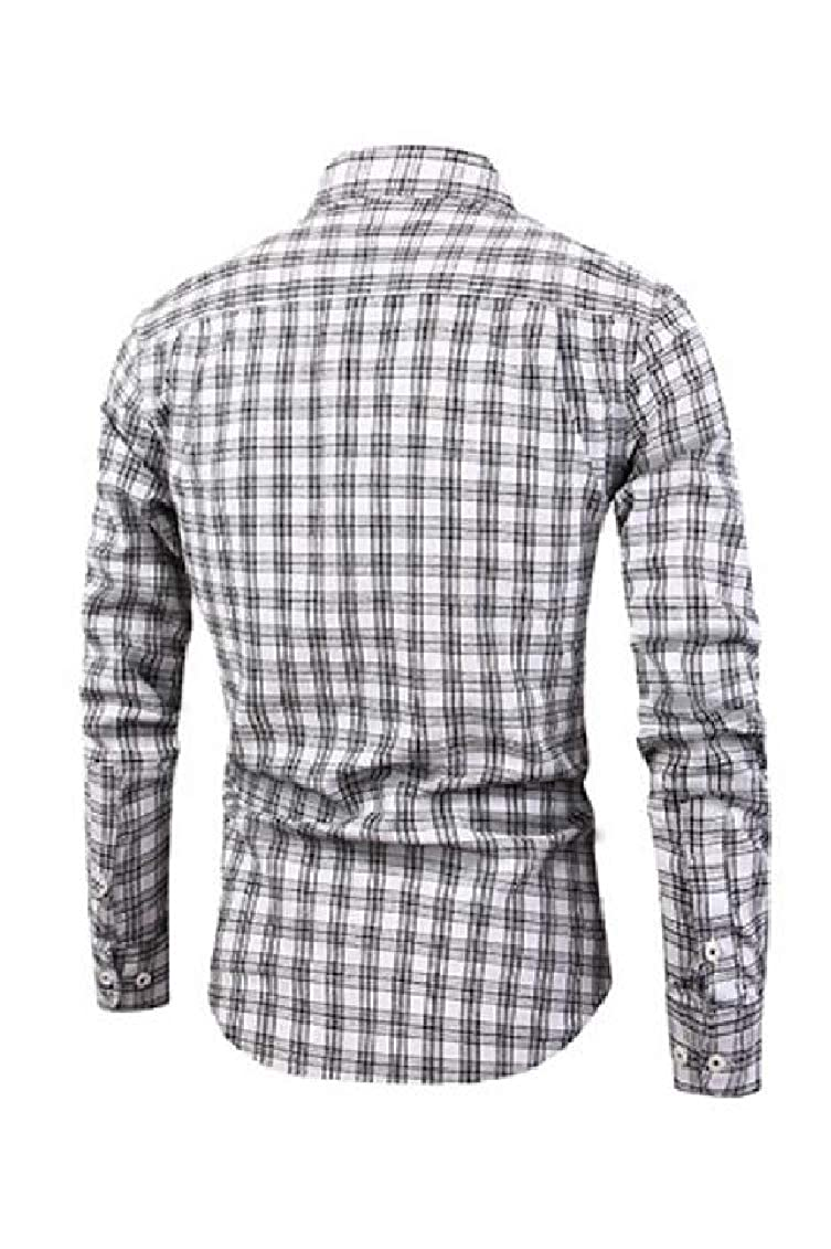 Sweatwater Men Slim Fit Long Sleeve Spread Collar Button-Down Plaid Shirts
