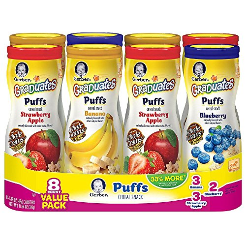 Gerber Graduates Puffs Cereal Snack, Value Variety Pack 1.48 oz., 8 ct. - Banana Puffs