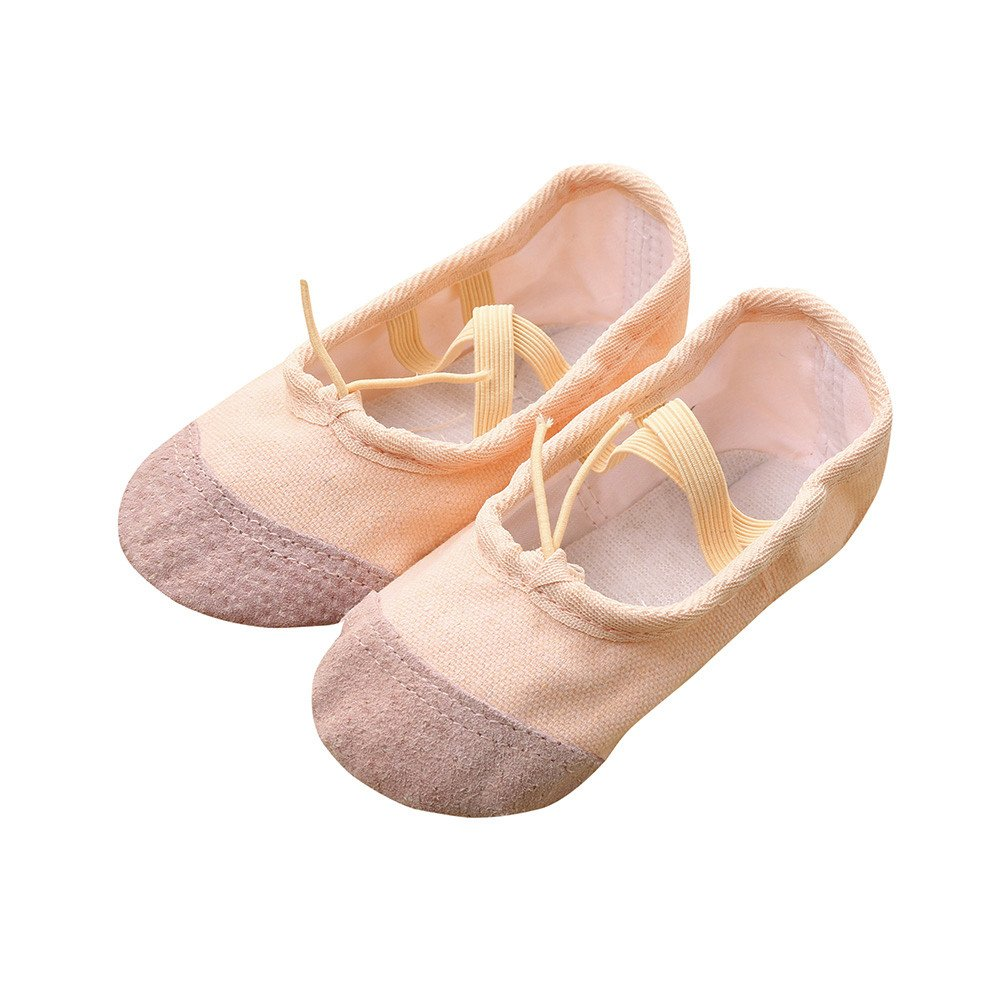 Tantisy ♣↭♣ Baby Shoes Girls  Fashion Kids Canvas Ballet Pointe Dance Shoes Fitness Gymnastics Latin Dance Shoes Beige