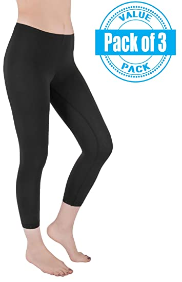 d58ce852aa2 Sexy Basics Womens 3 Pack Stretch Cotton Capri Lace Legging Tights (Small  3-5