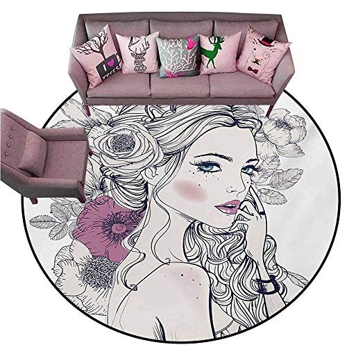 Non-Slip Bath Hotel Mats Floral,Portrait of a Beautiful Woman with Flowers on Her Hair and Butterflies Pattern,Pearl and White Diameter 48