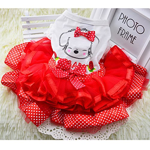 365Cor Cute Bow Dog Dress Tutu Skirt Summer Puppy Clothes Pr
