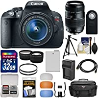 Canon EOS Rebel T5i Digital SLR Camera & 18-55mm IS STM Lens with 70-300mm Lens + 32GB Card + Case + Battery/Charger + Tripod + Tele/Wide Lens Kit
