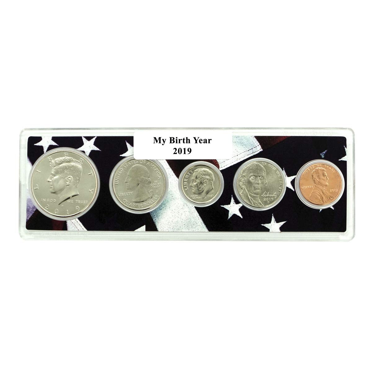 5 Coin Set 1984 Birth Year Coin Set in American Flag Holder