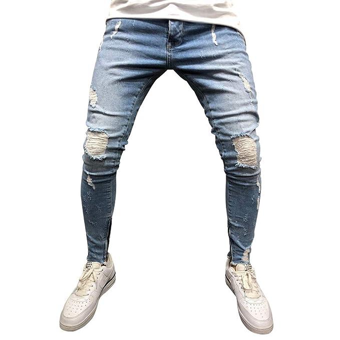 Hombres Zip Jogger Pantalones Vaqueros de Socorro Pantalones ...