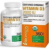 Vitamin D3 2000 IU Certified Organic Vitamin D Supplement, Non-GMO Gluten Free USDA Certified Formula, 360 Tablets