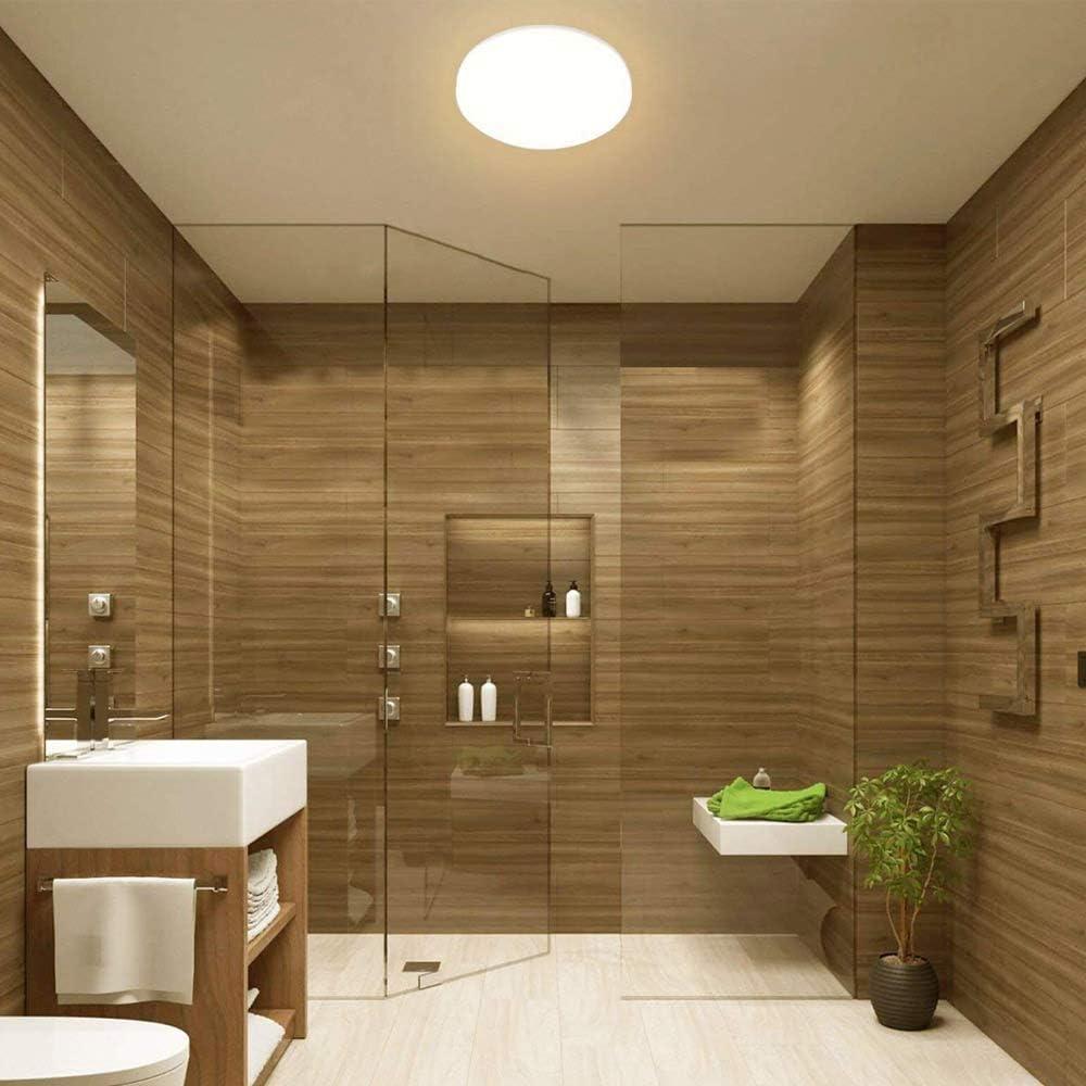 KWODE Plafonnier LED 18 W Blanc froid 6000 K /éclairage de plafond IP44 rond pour salle de bain salle de bain Id/éal pour salle de bain balcon couloir salle de bain