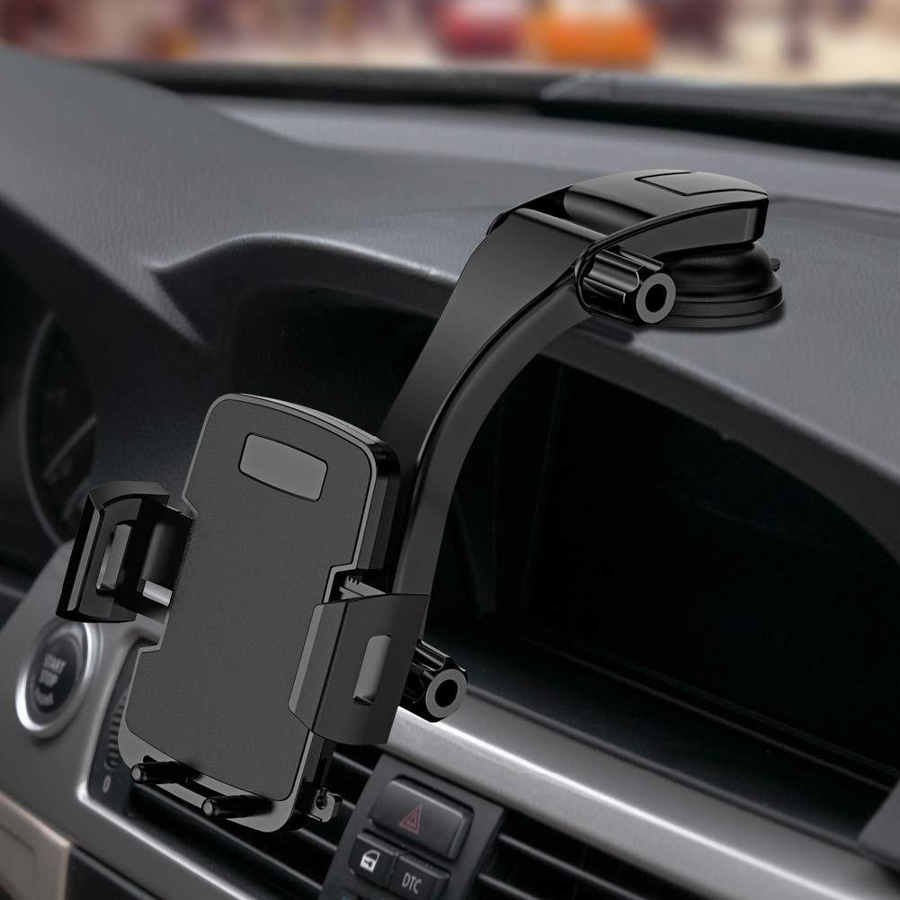 Miracase Cell Phone Holder for Car,Upgrade Dashboard & Windshield 360° Rotation One Button Car Phone Mount Holder Compatible iPhone Xs MAX/XS/XR/X/8plus/7/8/6,Galaxy S10/S9/S8,Google,Huawei(4''-6.5'') by Miracase