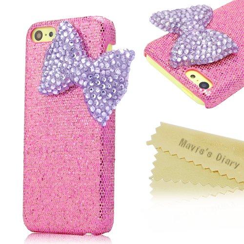 Mavis's Diary for Iphone 5C Crystal Purple Bow Diamond Bling Peach Hard Cover Case with Soft Clean Cloth