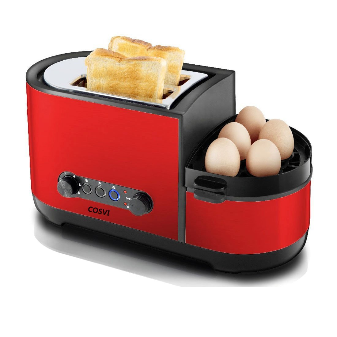 COSVII Red Toaster 2 Slice with Egg Maker, Extra Wide Slots, Removable Crumb Tray, 7-shade Selector, Led Indicator Function, Cancel Function, Cool Touch Stainless Steel Toaster for Bread and Bagel