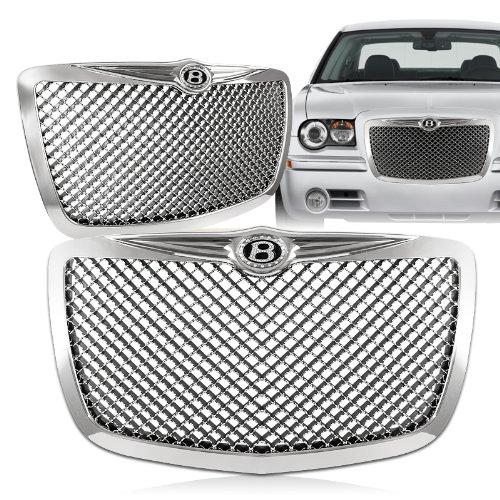 2005 - 2010 Chrysler 300/300C Chrome Front Mesh Hood Bumper Grille w/ Iced Out B Emblem