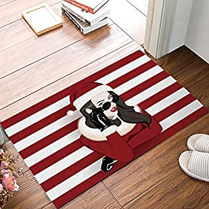 Custom Merry Christmas wearing sunglasses Girl with red white stripe background Entrance Rug Indoor/Outdoor/front door/Entry Way Bathroom Mats Rubber Non-woven Fabric Non Slip