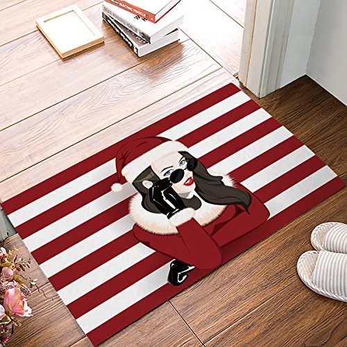Custom Merry Christmas wearing sunglasses Girl with red white stripe background Entrance Rug Indoor/Outdoor/front door/Entry Way Bathroom Mats Rubber Non-woven Fabric Non - Sunglasses Background No