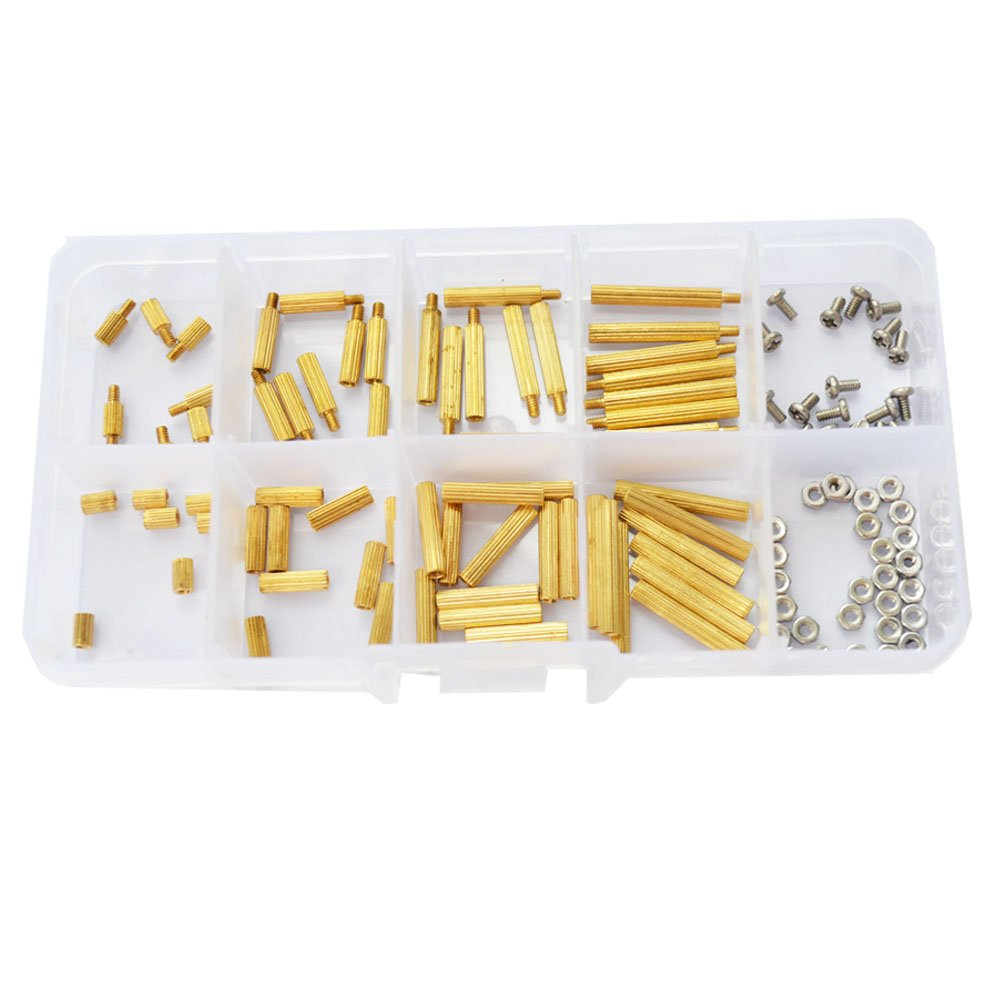 M2 M3 Male Female Brass Hex Standoff Spacer Bolt Stainless Steel 120pcs Copper Silver Pillars Circuit Board Pcb Nut Screw Assortment Kit Motherboard 240pcs Mount Diy Tools