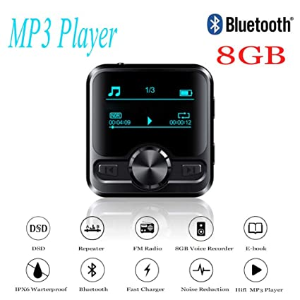 8 GB Reproductor de MP3 Sport Acuatico Bluetooth 4.2 Impermeable y IPX6 anti-sudor,