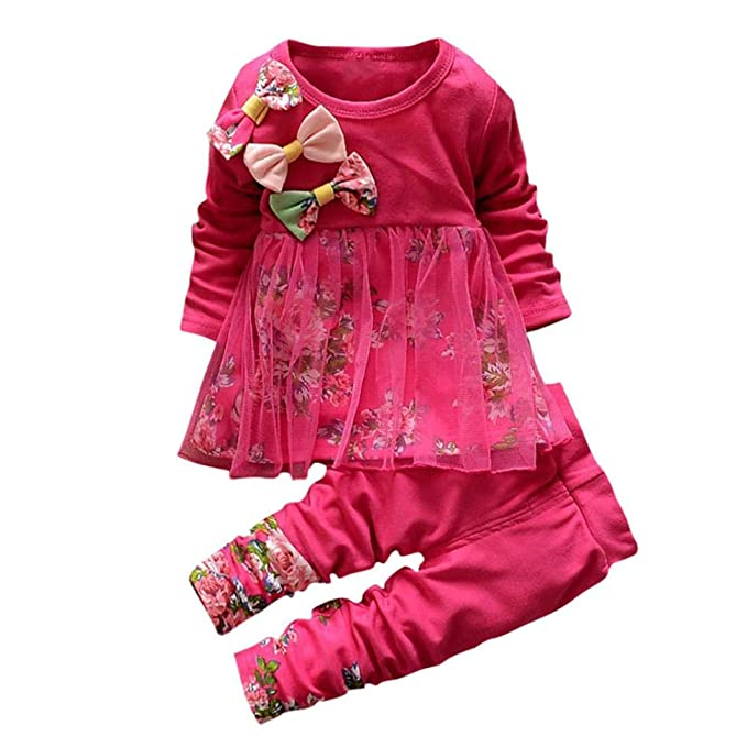 3f91a3ec5 Toddler Baby Girls Fall Winter Clothes Outfit 1-3 Years Old,2Pcs Floral  Bowknot T-Shirt Tops Dress Pants Set