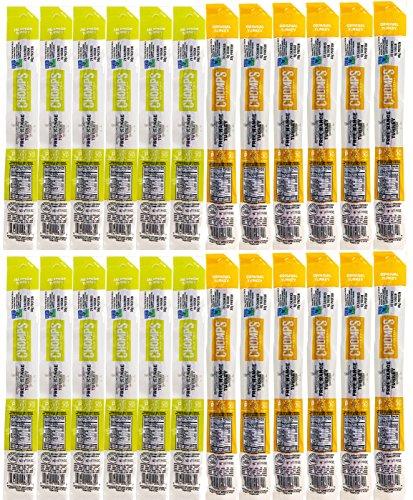 Chomps Free-Range Turkey Jerky Snack Sticks Variety Pack of 24 - Original and Jalapeno Turkey - Non GMO, Gluten & Sugar Free, Paleo and Keto Friendly, Whole30 Approved