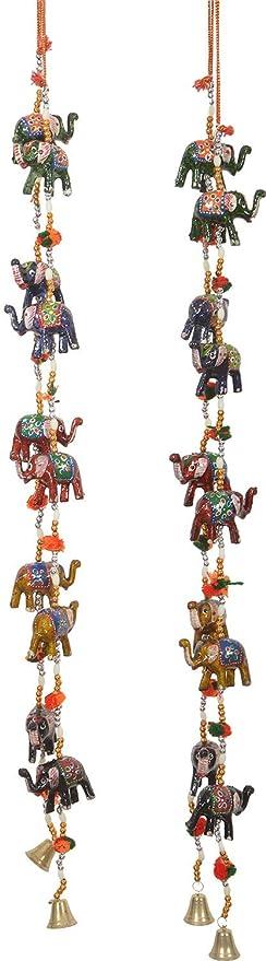 Rajkruti Handicraft Rajasthani Elephant Wall / Door Hanging Toran 2 Piece Set Showpiece (2 Cm X 2 Cm X 60 Cm, Wh264)