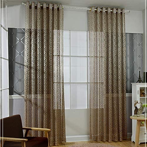 MYRU Black and Gold Sheer Curtains for Living Room Jacquard Luxury Tulle Curtains Gold,2 Panels 54 Inches by 84 Inches