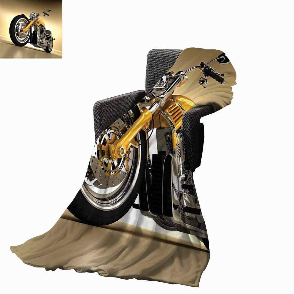 vanfan-home Motorcycle Bed Blankets,Iron Custom Aesthetic Hobby Motorbike Futuristic Modern Mirrors Riding Theme Printing Throw Blanket for Living Room (70''x60'')-Yellow Silver by vanfan-home