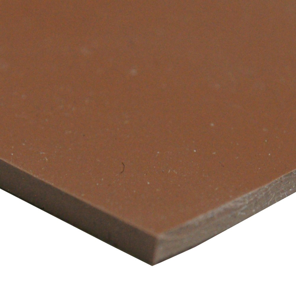 "Silicone Sheet, 50A Durometer, Smooth Finish, No Backing, 0.125"" Thickness, 36"" Width, 12"" Length, Brown"