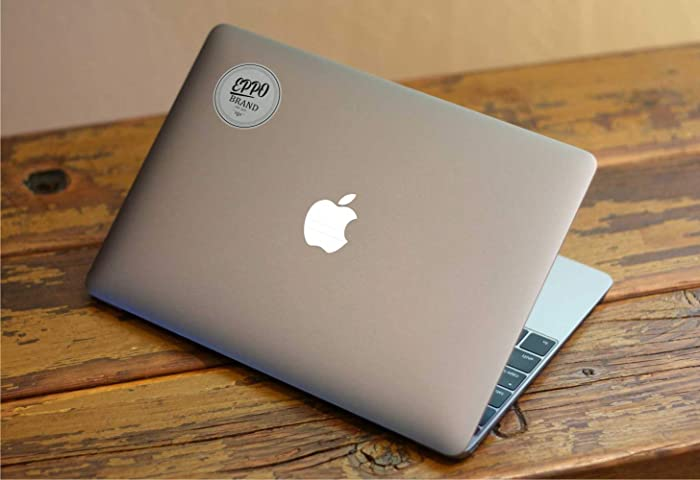 """EppoBrand Design White""""Back in Time"""" Apple Logo Sticker Decal for 12"""" Inch MacBook and 13"""" 15"""" Inch Macbooks Pro/Air Laptop Without Backlited Logo VSCO - Perfect Fit"""