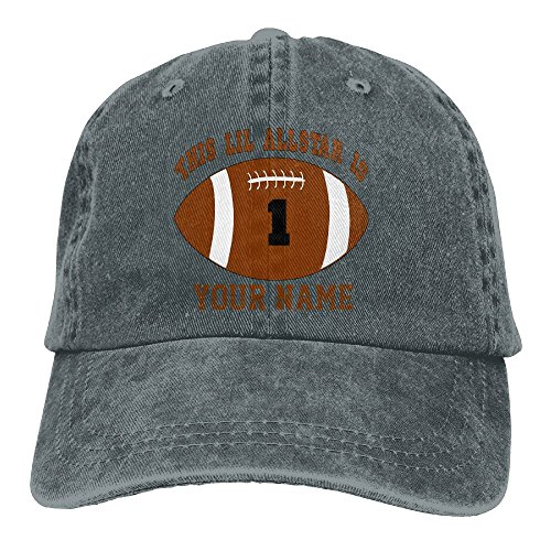 Or Womens 1st Birthday Boy Football Personalized Your Name Unisex Cotton Cap Adjustable Plain Hat Asphalt (Personalized Autographed Baseball)