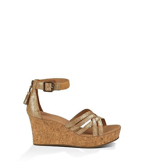 UGG Womens Lillie Metallic Chestnut Gold Coast Suede - Sandals