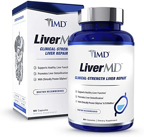 1MD LiverMD – Liver Cleanse Supplement Siliphos Milk Thistle Extract – Highly Bioavailable, Clinically Studied for Liver Detox 60 Capsules