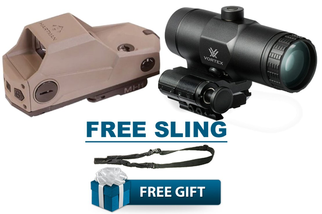 MH1 Tan Hartman Sights 2MOA Red Dot Sight with A type Reticle & One Locking Lever & Vortex VMX-3T Magnifier + FREE Marom Dolphin Sling (BL-6006)