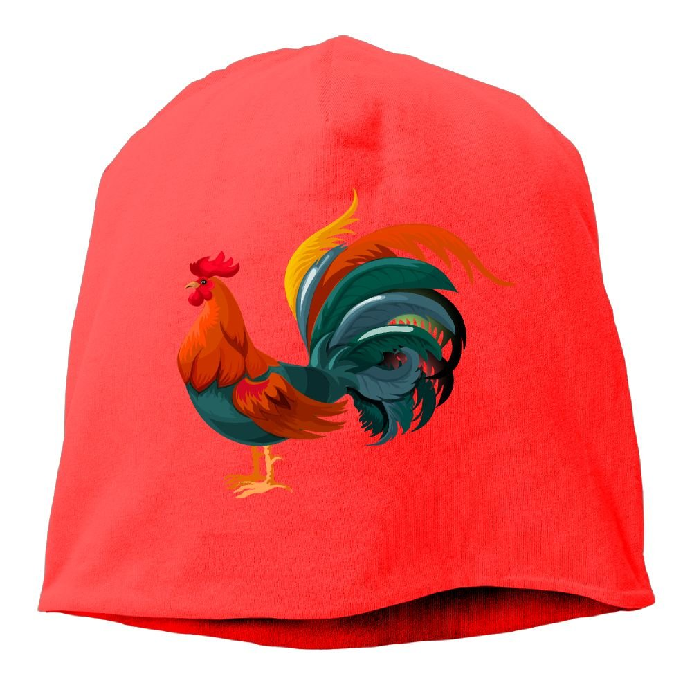 Fashion Solid Color Funny Rooster Logo Head Cap for Unisex Pink One Size