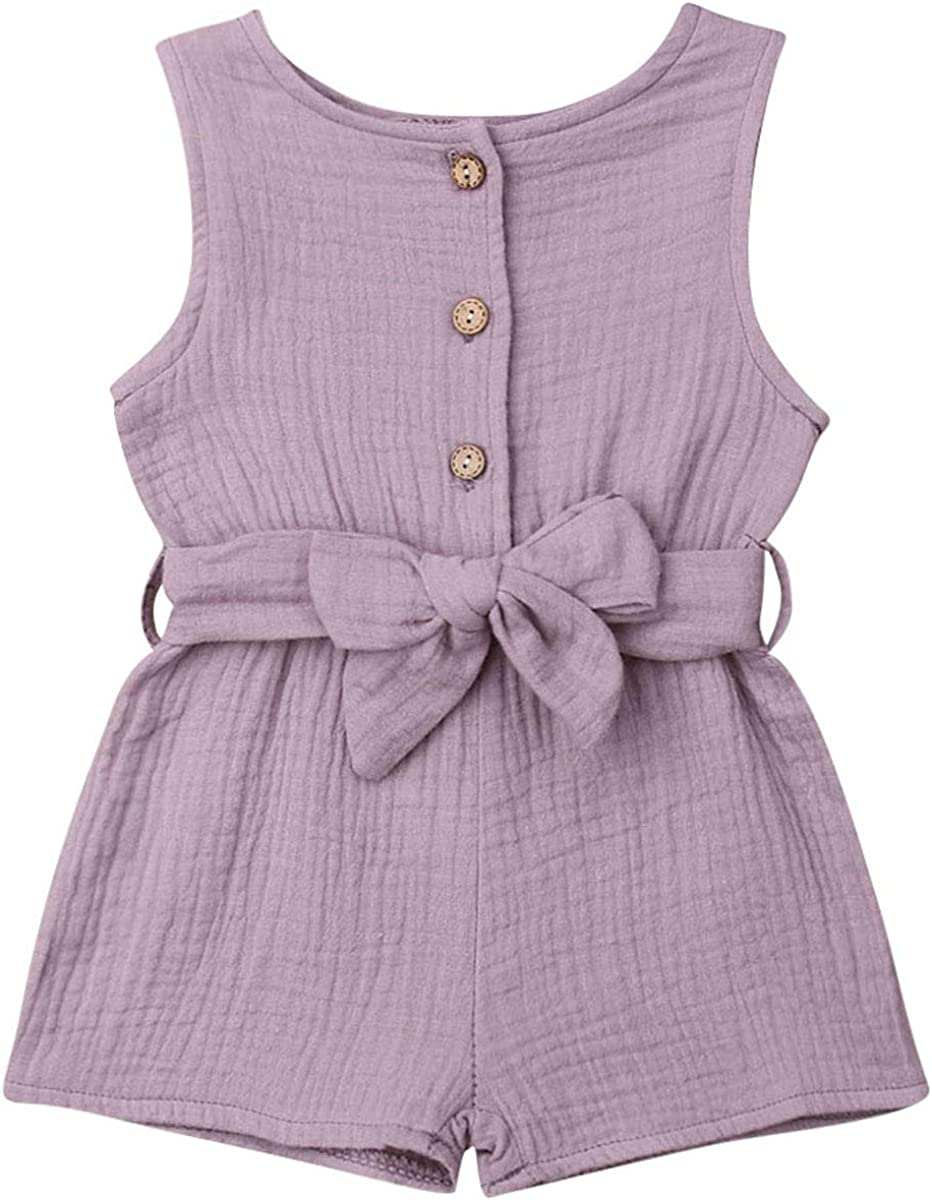 Aunavey Baby Girls Clothes Sleeveless Solid Romper Jersey Cotton/&Linen Outfit with Waistband