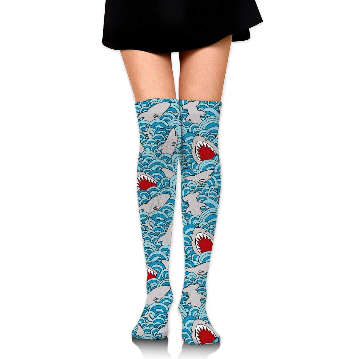 Kjaoi Girl Skirt Socks Uniform Shark Jumping Women Tube Socks Compression Socks