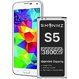 Galaxy S5 Battery, 3800mAh [Upgraded] SHENMZ Li-ion Replacement Battery for Samsung Galaxy S5 EB-BG900BBU SM-G900V I9600…