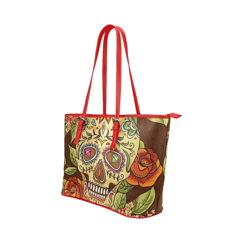 Interestprint Custom Shoulder Bag sugar skull Leather Tote Bag Large