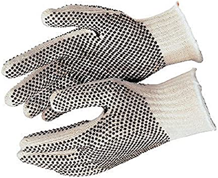 Deluxe String Knit Palm Latex Dipped Gloves 10-pairs Black Womens