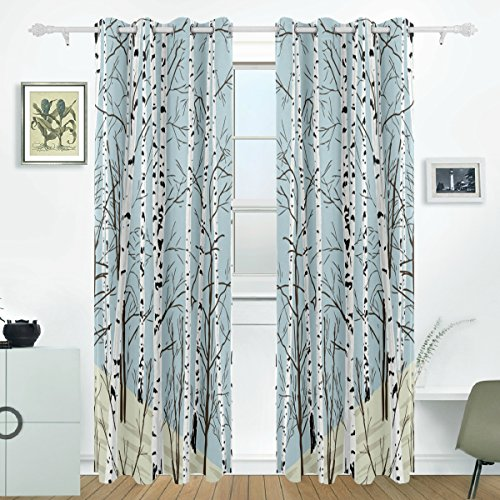(JSTEL Birch Tree Curtains Drapes Panels Darkening Blackout Grommet Room Divider for Patio Window Sliding Glass Door 55x84 Inches,Set of 2)
