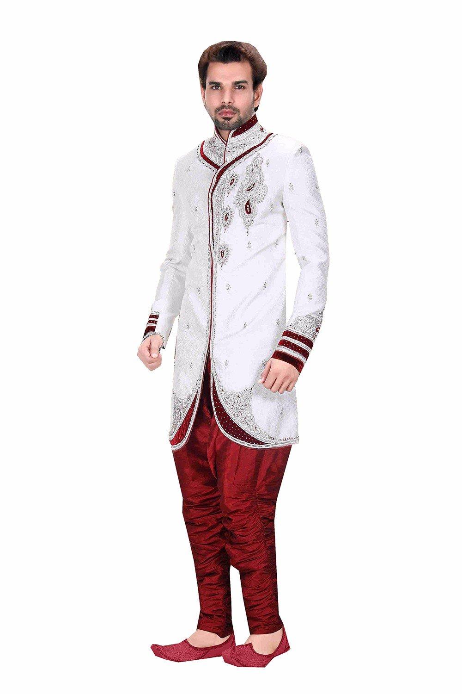 Wedding Partywear Designer Readymade Butta Off White Men`S Wear 50669